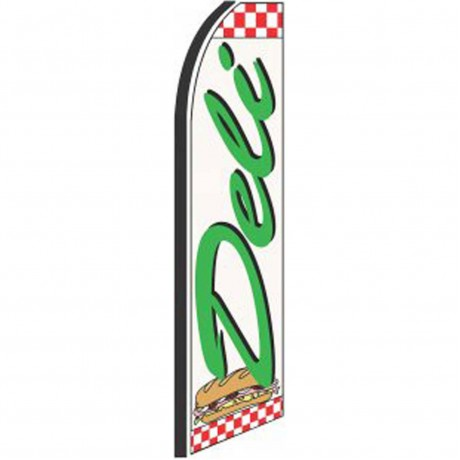 Deli White Checkered Extra Wide Swooper Flag