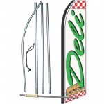 Deli White Checkered Extra Wide Swooper Flag Bundle