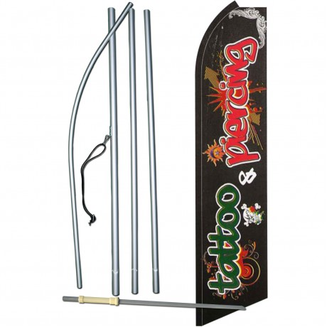 Tattoo & Piercing Graffiti Extra Wide Swooper Flag Bundle