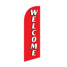 Welcome White/Red Junior Swooper Flag
