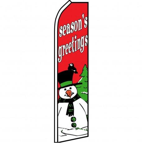 Seasons Greetings Snowman Swooper Flag