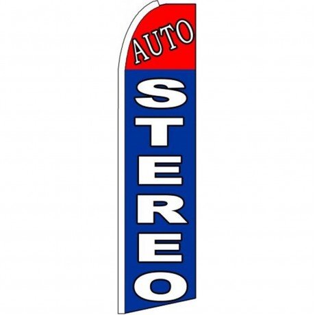 Auto Stereo Red Blue Extra Wide Swooper Flag
