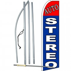 Auto Stereo Blue Extra Wide Swooper Flag Bundle