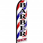 Barber Shop Red Blue Stripes Extra Wide Swooper Flag