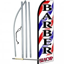 Barber Shop Red Blue Stripes Extra Wide Swooper Flag Bundle