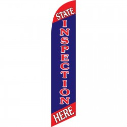 State Inspection Red Blue Windless Swooper Flag
