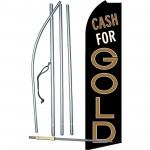 Cash For Gold Black/Brown Extra Wide Swooper Flag Bundle