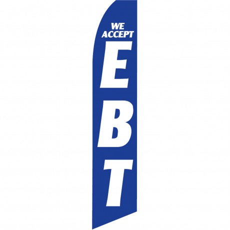 We Accept EBT Blue Swooper Flag