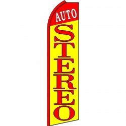 Auto Stereo Yellow Extra Wide Swooper Flag