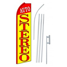 Auto Stereo Yellow Extra Wide Swooper Flag Bundle