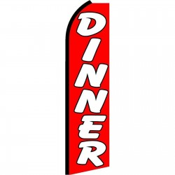 Dinner Red Extra Wide Swooper Flag