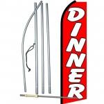 Dinner Red Extra Wide Swooper Flag Bundle