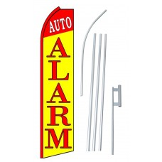 Auto Alarm Red Yellow Extra Wide Swooper Flag Bundle