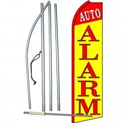 Auto Alarm Yellow Extra Wide Swooper Flag Bundle