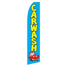 Car Wash Blue Yellow Swooper Flag