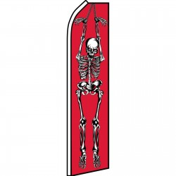 Halloween Skeleton Red Swooper Flag