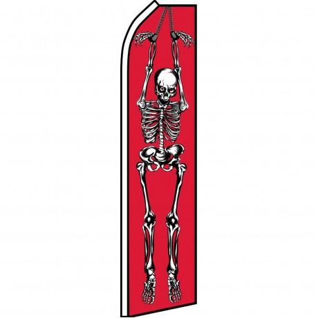 Halloween Skeleton Red Swooper Flag