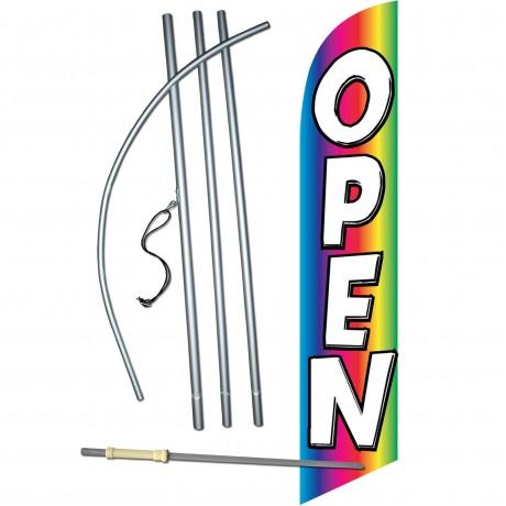 Open Rainbow Windless Swooper Flag Bundle