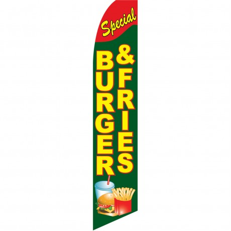 Burger & Fries Special Extra Wide Swooper Flag