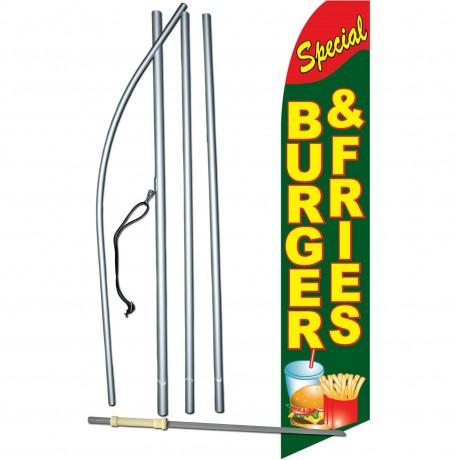 Burger & Fries Special Extra Wide Swooper Flag Bundle