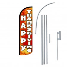 Happy Thanksgiving Extra Wide Windless Swooper Flag Bundle