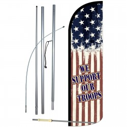 We Support Our Troops Extra Wide Windless Swooper Flag Bundle