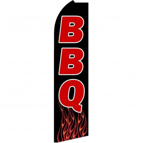 BBQ Black Red Extra Wide Swooper Flag