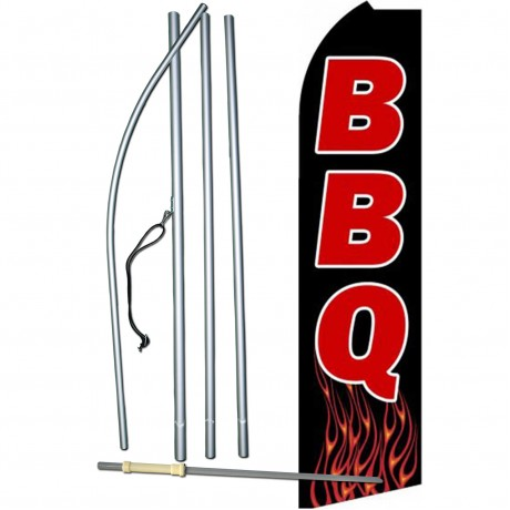 BBQ Black Red Extra Wide Swooper Flag Bundle