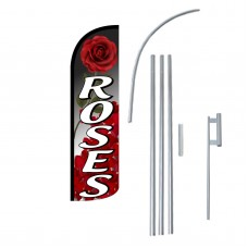 Roses Extra Wide Windless Swooper Flag Bundle