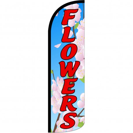 Flowers Extra Wide Windless Swooper Flag