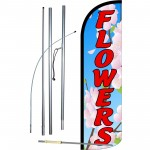 Flowers Extra Wide Windless Swooper Flag Bundle