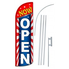 Now Open USA Extra Wide Windless Swooper Flag Bundle
