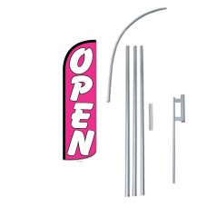 Open Pink Extra Wide Windless Swooper Flag Bundle