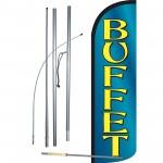 Buffet Blue Extra Wide Windless Swooper Flag Bundle