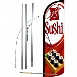 Sushi Red Extra Wide Windless Swooper Flag Bundle