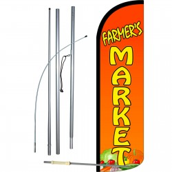 Farmers Market Extra Wide Windless Swooper Flag Bundle