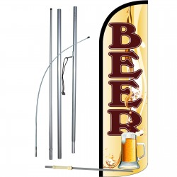 Beer Mug Extra Wide Windless Swooper Flag Bundle
