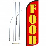 Food Red Extra Wide Windless Swooper Flag Bundle