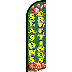 Seasons Greetings Green Extra Wide Windless Swooper Flag
