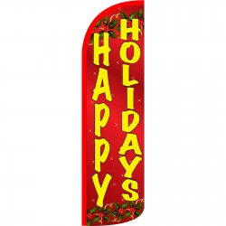 Happy Holidays Extra Wide Windless Swooper Flag