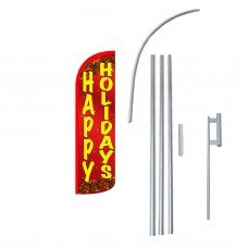 Happy Holidays Extra Wide Windless Swooper Flag Bundle