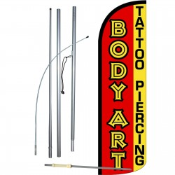 Body Art Extra Wide Windless Swooper Flag Bundle