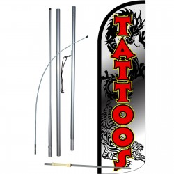 Tattoos Dragon Extra Wide Windless Swooper Flag Bundle