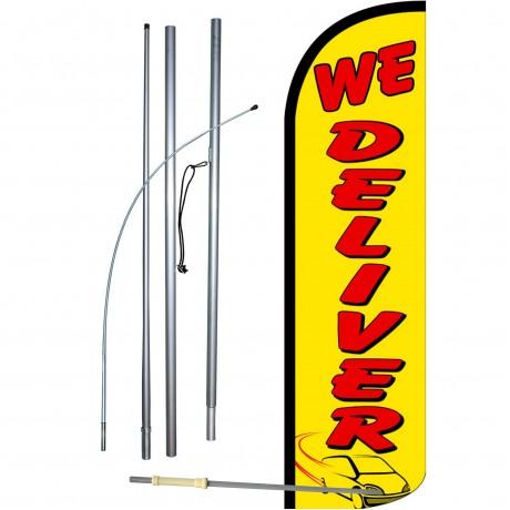 We Deliver Extra Wide Windless Swooper Flag Bundle