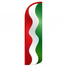 Waving Red, White and Green Stripes Extra Wide Windless Swooper Flag