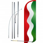 Waving Red, White and Green Stripes Extra Wide Windless Swooper Kit
