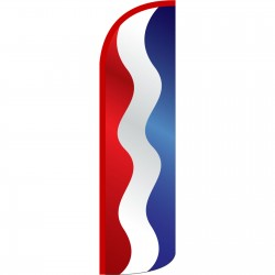 Waving Red, White and Blue Stripes Extra Wide Windless Swooper Flag