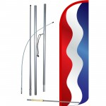 Waving Red, White & Blue Stripes Extra Wide Windless Swooper Flag Kit
