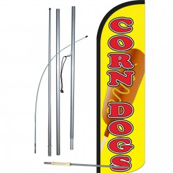 Corn Dogs Yellow Extra Wide Windless Swooper Flag Bundle