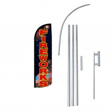 Fireworks Black Extra Wide Windless Swooper Flag Bundle
